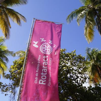 Photo beach flag Rotaract cocotiers ciel bleu